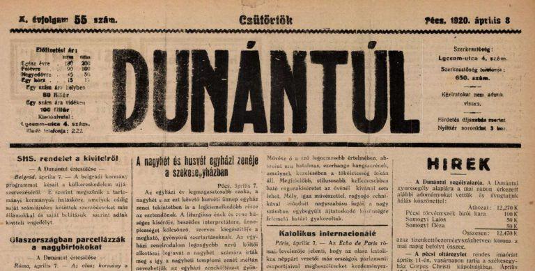 Lenyomatok a 100 évvel ezelőtti Pécsről – Újságlapok 1920-ból