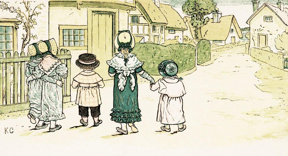 Illusztráció Kate Greenaway Under The Window című gyerekkönyvéből