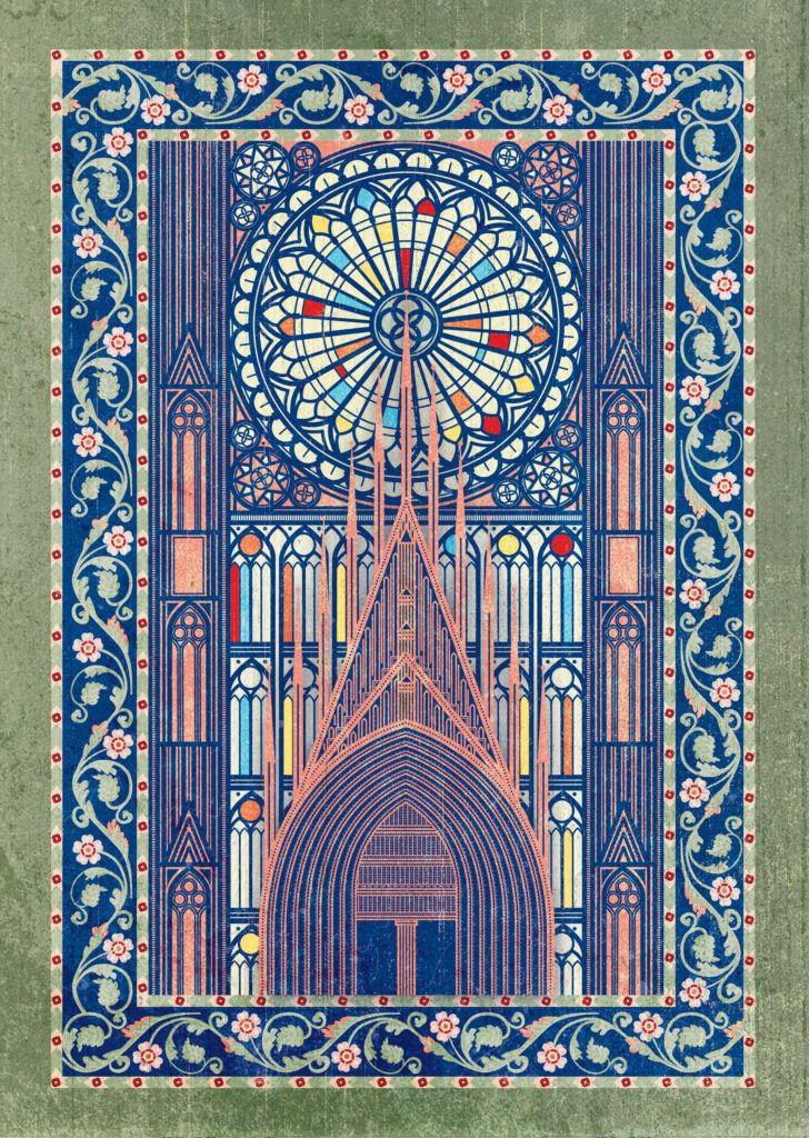 Herbszt László illusztrációja a A strasbourgi katedrális építése című meséhez
