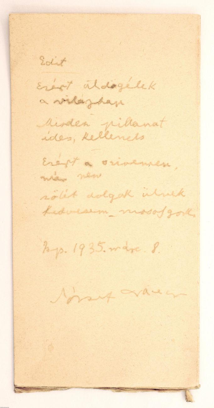 Az Edit című József Attila-vers kézirata